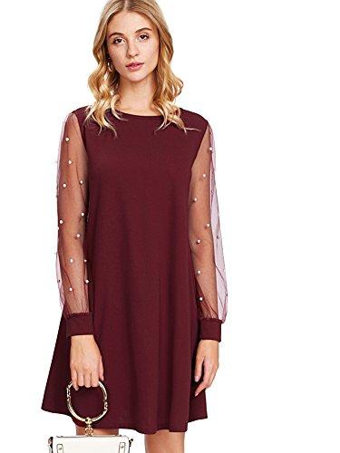 DIDK Women's Pearl Beading Sheer Mesh Long Sleeve Dress Burgundy L