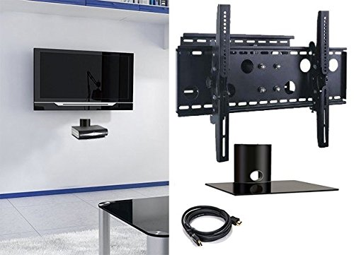 2xhome – NEW TV Wall Mount Bracket (Single Arm) & One (1) Single Shelf Package – Secure Cantilever LED LCD Plasma Smart 3D WiFi Flat Panel Screen Monitor Moniter Display Large Displays - Long Swing Out Single Arm Extending Extendible Adjusting Adjustable - Single 1 Tier Under TV Tempered Glass Floating Hanging Shelves Shelving Unit Rack Tower Set Bundle - Full Motion 15 degree degrees Tilt Tilting Tiltable Swivel Articulating Heavy Duty Strong Durable Support - Mounted Mounting Home Entertainment Media Center Multimedia Furniture Family Living Room Game Gaming - Management Designer Organization Space Saver System HDTV HDMI HD Video Accessories Audio Video AV Component DVR DVD Bluray Players Cable Boxes Consoles Satellite XBox PS3 - Compatible VESA 100mm x 100mm, 200mm x 200mm, 400mm x 400mm , 600mm x 400mm, 700mm x 450mm, 718mm x 450mm, 720mm (W) x 470mm(H) - Universal Fit for LG Electronics Samsung Vizio Sharp TCL Toshiba Seiki Sony Sansui Sanyo Philips RCA Magnavox Panasonic JVC Insignia Hitachi Emerson Element SunBrite SunBright 45