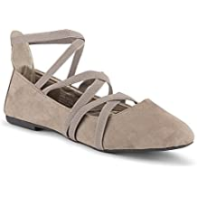 Twisted Womens Faux Suede Strappy Fashion Flats