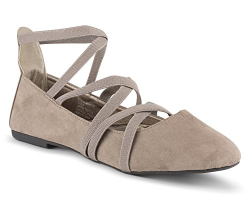 (Twisted Womens Faux Suede Strappy Fashion Flats SARA 129-TAUPE Size 8)