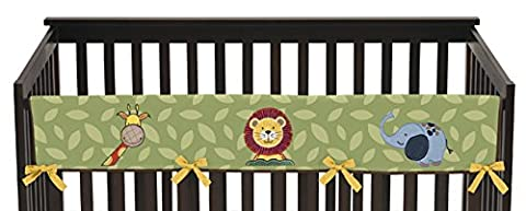 Sweet Jojo Designs Jungle Time Animals Long Front Rail Guard Baby Teething Cover Crib Protector - Crib Teething Rail Cover