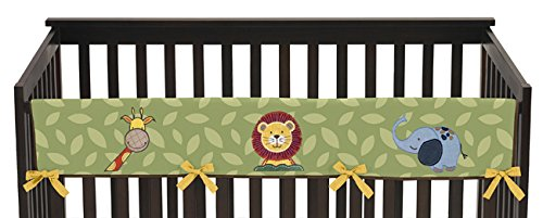 Sweet Jojo Designs Jungle Time Animals Long Front Rail Guard Baby Teething Cover Crib Protector Wrap