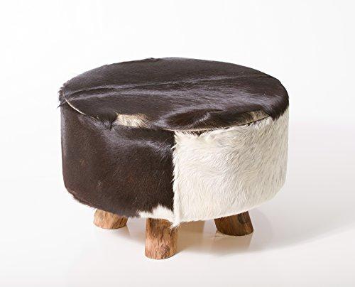Bare Decor Cassidy Round Leather, Genuine Hide Ottoman in Bl