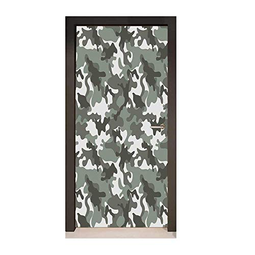 Camouflage Self Adhesive Wall Sticker Monochrome Attire Pattern Camouflage Inside Vegetation Fashion Design Print for Living Room Decoration Grey -