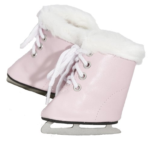 BUYS BY BELLA Pink Furry Ice Skates for 18 Inch Dolls Like American Girl