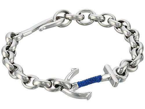- Fossil Anchor Steel Bracelet, Silver, One Size