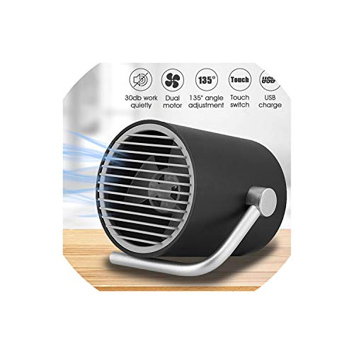 - MUZIBLUE Portable Mini Desk Fan USB Rechargeable Cooling Fans Twin Turbo Blades Quiet 2 Speed for Home Office Outdoor Black/White,Black