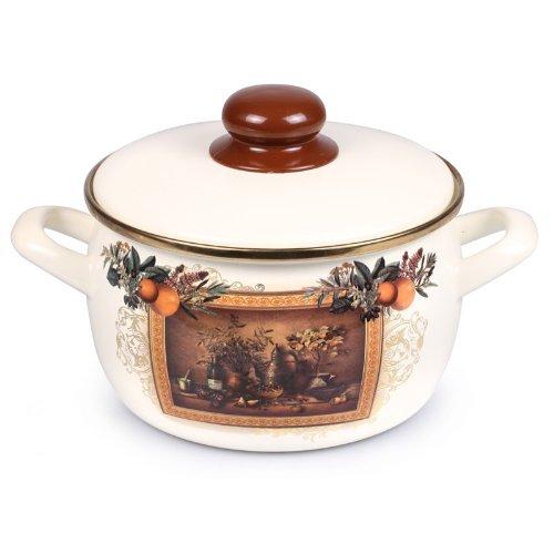 Enamel Stock Pot Enamel Pot Scenery Enamel Cooking Pot Enameled Pot 2.3-qt. (2.2 L) by Metalac