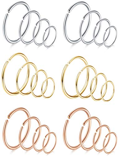 FIBO STEEL 18-20G 5-24PCS Stainless Steel Body Jewelry Piercing Nose Ring Hoop Nose Piercing
