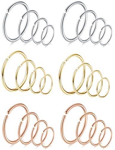 (FIBO STEEL 18-20G 5-24PCS Stainless Steel Body Jewelry Piercing Nose Ring Hoop Nose Piercing)