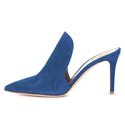 Fsj Donna Sandali Mule Lucidi Pantofole Con Lacci Tacchi Alti Stiletto Slip On Size 4-15 Us Blue Suede-8 Cm