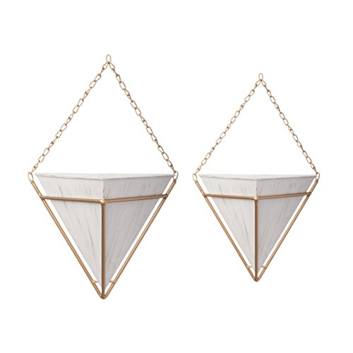 Office Cottage Modular (Pine & Paint Wall Pocket Hanging Planters Set of 2 Triangular with Gold Chain & Frame (White))