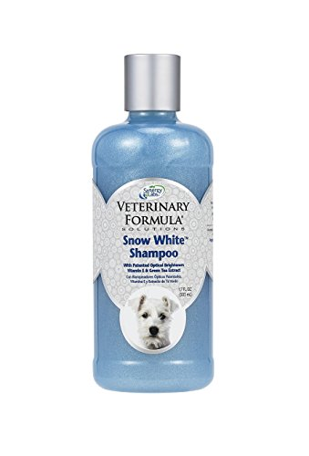 Veterinary Formula Solutions Snow White Shampoo for Dogs and Cats - Safely Remove Stains Without Bleach or Peroxide -Gently Cleanses, Deodorizes and Brightens White Coat - Fresh Scent (17oz)