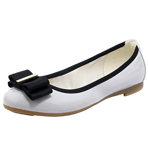 ENMAYER Womens Patent Leather Material Shoes Flats Mary Janes Shoes Flats Gray LIqU2