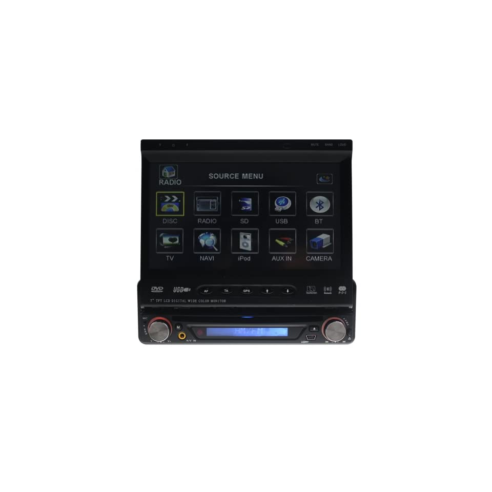 Tyso 7 In Dash Car DVD Player GPS With Digital TV+Motorized Touch Screen/GPS Bluetooth IPod Function/DVD/CD/RDS Supported 2403GD