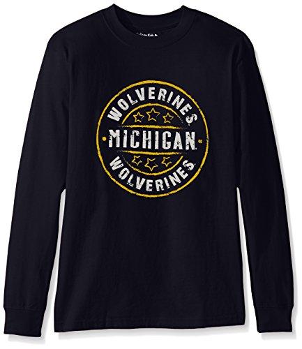 NCAA Michigan Wolverines Youth Long Sleeve Tee, Size 8-10 /Small, Navy (Fiber Michigan Wolverines Ncaa)
