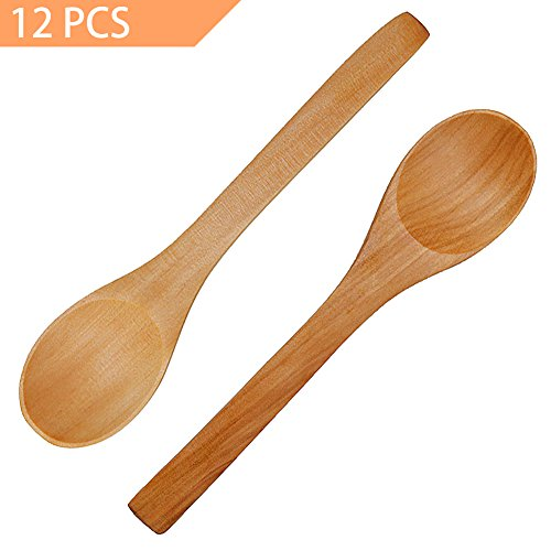 Handmade Wooden Spoon, 12 PCS Small Wooden Serving Spoons Condiments Salt Spoons Honey Teaspoon Coffee Tea Sugar Salt Jam Mustard Ice Cream Spoons Wooden Cutlery
