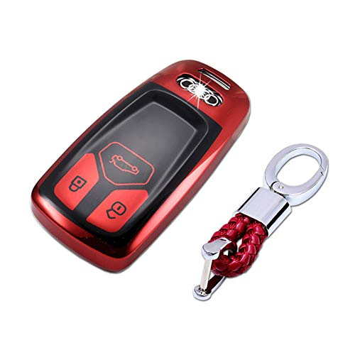 TurningMax Keyless Entry Remote Cases Smart Key Fob Cover with Keychain Full Protection Soft TPU Holder Shell for 3-Buttons Audi A4L TT A5 Q5L Q7 2016 2017 2018, etc – Red