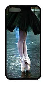 Ballet Point Dance Theme Case for IPhone 4 4S Rubber Material Black