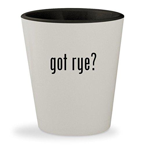 got rye? - White Outer & Black Inner Ceramic 1.5oz Shot Glass (Templeton Light 1)