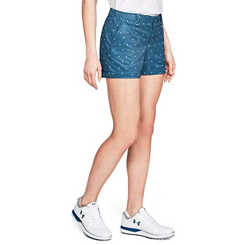 (Under Armour Women's Links printed shorty 4in, Static Blue (414)/Static Blue, 10)