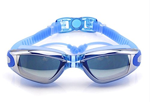 Optical Grade Goggles - New Corrective Nearsighted Swimming Goggles(Prescription 2.0-8.0 Diopters) with Ear Plug connect to-100% Highest Grade UV Protection and Anti-fog,3 Piece Adjustable Nose Bridge Suitable for Different Size of Face (Blue-7.0)