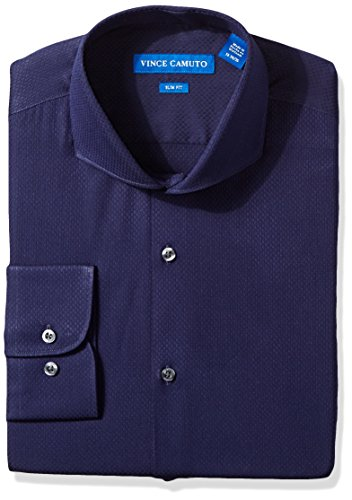 - VINCE CAMUTO Men's Slim Fit Textured Dobby Dress Shirt, Midnight Blue, 17