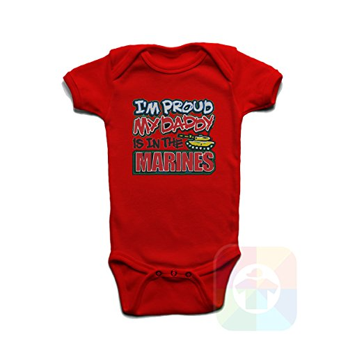 I Am Proud My Daddy is in The Marines Baby Boys Girls Onesie Red ()