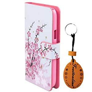 (TRAIT ) For Samsung S4 mini i9190 Luxury PU Leather Cover Card Holder Wallet Flip Cases Protective Skin Pink Flower Flip Case