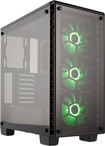 Corsair CC-9011101-WWCORSAIR Crystal 460X RGB Compact Mid-Tower Case, 3 RGB Fans, Tempered Glass - Black