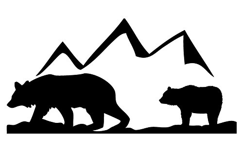 Auto Vynamics - ANIPAIRS-BEARS-3-GBLA - Gloss Black Vinyl Animal Family Pair Scene Decal - Bears w/ Mountain Design - 3-by-1.5-inches - (1) Piece Kit - Single - Car Dodge Brothers