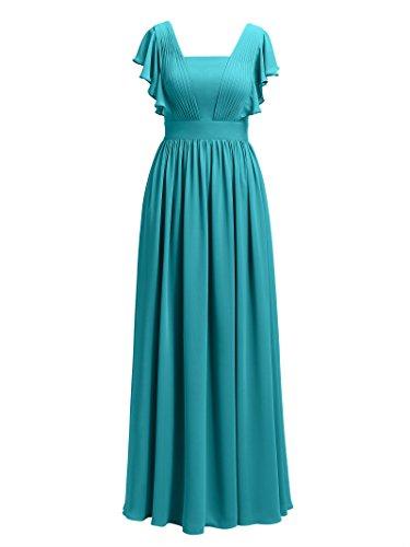 Vintage Flutter Bridesmaid Turquoise Formal Women's Dress Chiffon Sleeve Dresses Alicepub wBapq11