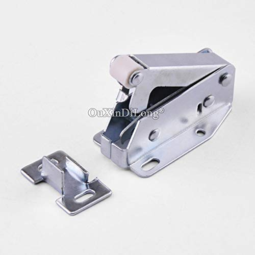 10PCS Spring Door Catches Touch Latch Catch for Cabinet Cupboard Wardrobe Door Press To Open Silver Tone
