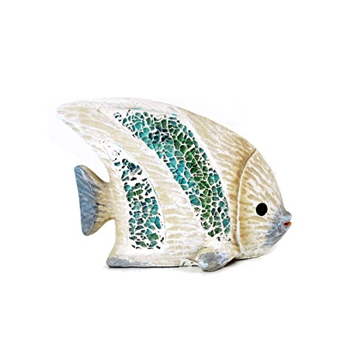 WonderMolly Coastal Collection Animal Life Angel Fish with Crushed Glass Accent Figurine