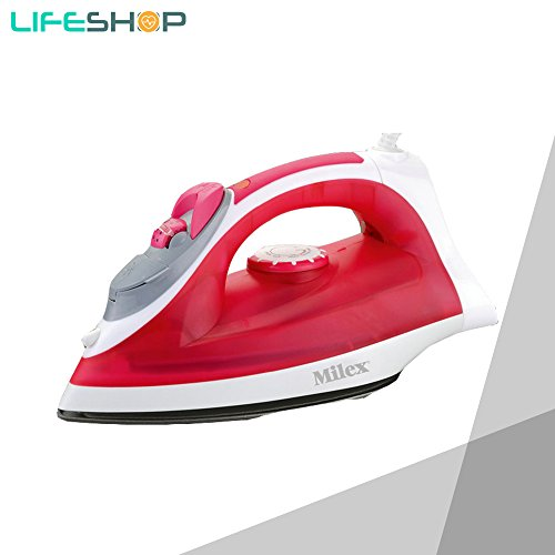 LifeShop Milex Steam And Dry Iron Power Blast with Multiple Steam Modes 1200W (Red) -