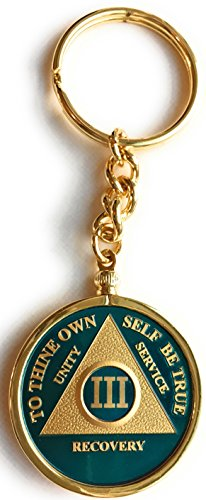 3 Year Blue Gold Plated AA Medallion In Keychain Removable Sobriety Chip Holder