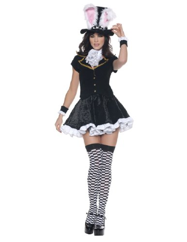 Women's Sexy Mad Hatter Costume - Totally Mad, Black/White, X-Large (Mad Hatter Alice In Wonderland Costume)