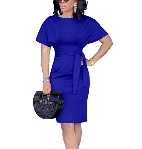 (Ofenbuy Womens Work Pencil Dress Short Sleeve Crewneck Casual Summer Party Midi Dresses with Belt Blue)