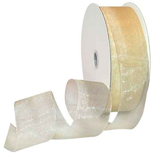 Morex Ribbon 91809/100-004 Organdy Nylon Ribbon, 1 1/2-Inch by 100-Yard, Ivory