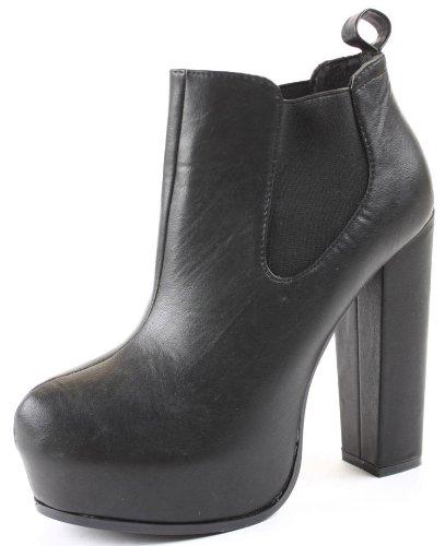 Womens Heeled Booties High Heels Block Shoes Platform Chelsea Ankle Boots Size 3 - 8 Black KeHNEtiM