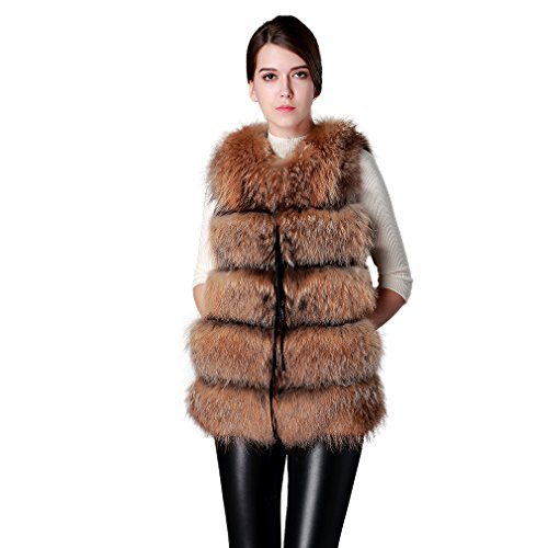 - Fur Story 14209 Women's Long Real Raccoon Fur Vest Pig Seude Leather Vest Natural Golden US 4