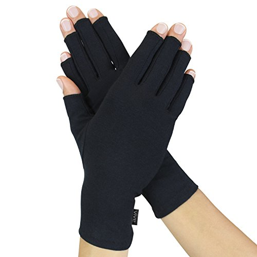 Arthritis Gloves by Vive - Compression Gloves for Rheumatoid & Osteoarthritis - Black Hand Gloves Provide Arthritic Joint Pain Symptom Relief - Men & Women - Open Finger (Rheumatoid Arthritis Gloves)