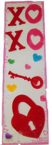 Valentine Reusable Long Gel Window Clings ~ Key to my Heart, XOXO, Multicolored Hearts (12 Clings, 1 Sheet)