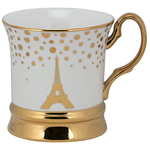 10 Strawberry Street TMBL-PARIS-MG4 Thimble Paris Mug (Set of 4), Gold