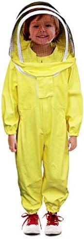 Luwint キッズ フルボディ 通気性 養蜂スーツ 迷彩 コットン 養蜂 スーツ セルフサポートフェンスベールフード US サイズ: 4.9ft Height カラー: イエロー