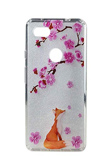 Ftonglogy Google Pixel 3a XL Case, Cute Pink Cherry Blossoms Clear Case Flowers Pattern Protective Phone Case for Google Pixel 3a XL Case (Lucky Fox)
