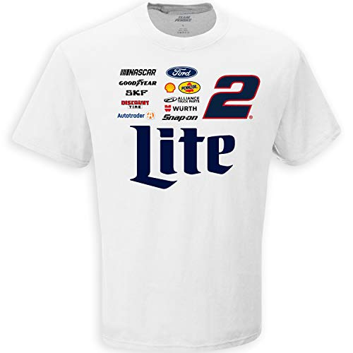 - Checkered Flag Men's 2019 NASCAR Uniform Sponsor T-Shirt-Brad Keselowski #2-Miller Lite-White-Large