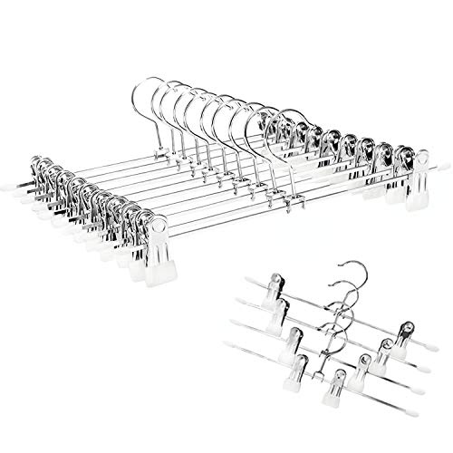 YCLOVE Pant Hangers with Clips Clothes Trousers Jean Skirt Slacks Hangers Boot Clips 360° Swivel Adujstable Clips Non-Slip Stainless Iron Anti-Rust (12 Pack White Pant Hangers)