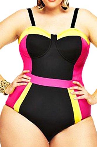 Zauberkirschen - Traje de una pieza - Opaco - para mujer Schwarz-Pink-Gelb