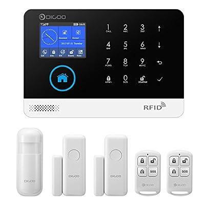 DIGOO HOSA 2G 433MHz GSM&WiFi Wireless Home Business Security Alarm System, Smart Security System DIY Kits, Burglar Alarm PIR Sensor, Door/Window Sensor Remote Controller, APP Control
